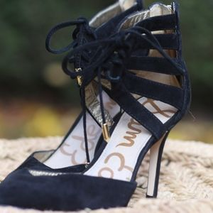 Sam Edelman Tie-Up Black Heels